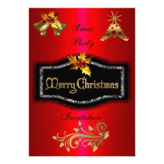 Invitation Xmas Rich Red Gold Black Christmas Invite