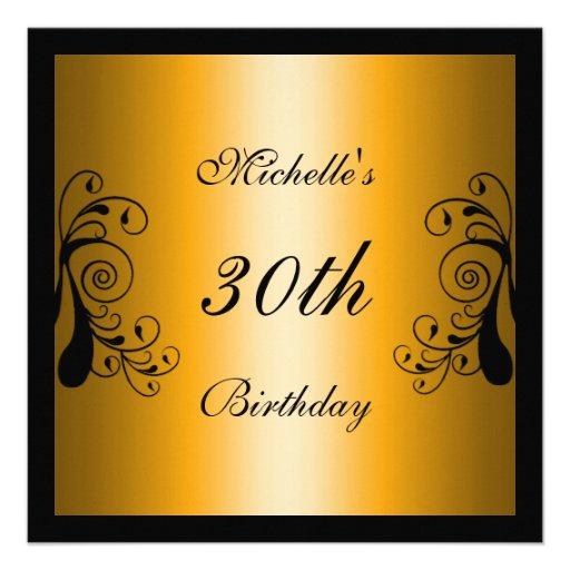 Invitation Yellow & Black Floral Personalized Invites