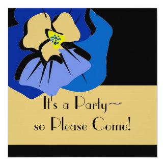 invitationn_BLUE PANSY/STRIPES 13 Cm X 13 Cm Square Invitation Card