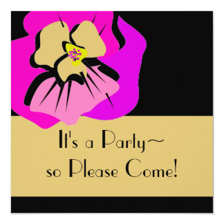 invitationn_PINK PANSY/STRIPES 13 Cm X 13 Cm Square Invitation Card