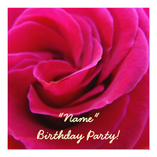 "Invitations Birthday Party Pink Rose Flower Cards 5.25"" Square Invitation Card"