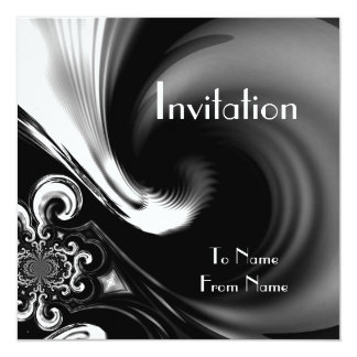 Invitations Black & White Style Abstract Metal 2