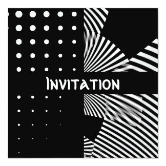 Invitations Black & White Style Spots Stripe