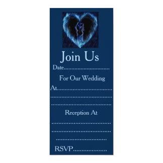 Invitations: Blue Fire Heart 10 Cm X 24 Cm Invitation Card