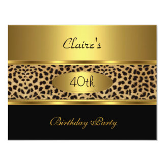 Invite 40th Birthday Party Leopard Gold Black