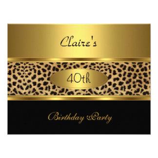 Invite 40th Birthday Party Leopard Gold Black Custom Invites