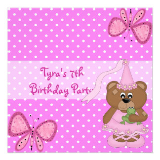 Invite 7th Birthday Pink Butterfly Announcement