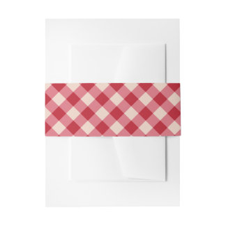 Invite Belly Bands - Red Gingham Invitation Belly Band