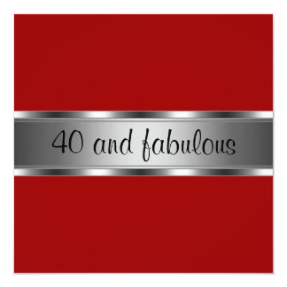 Invite Birthday Party Red Silver Fabulous 40th