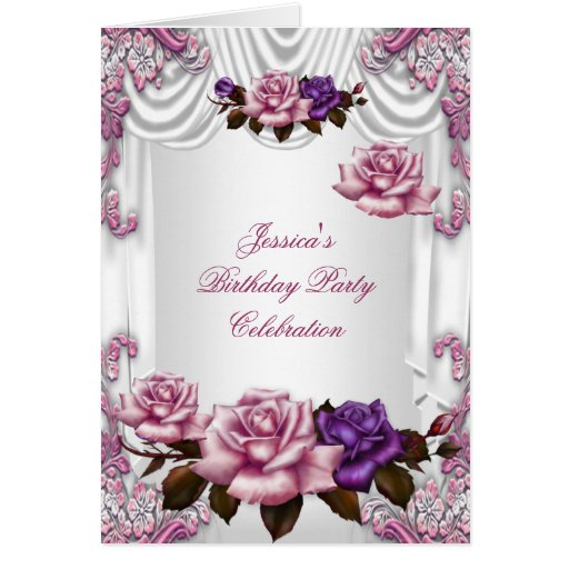 Invite Birthday Party White Pink Purple Rose Greeting Card  Zazzle