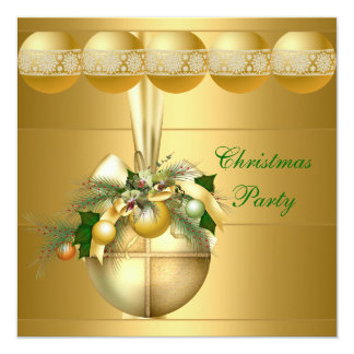 Invite Christmas Party Gold Balls