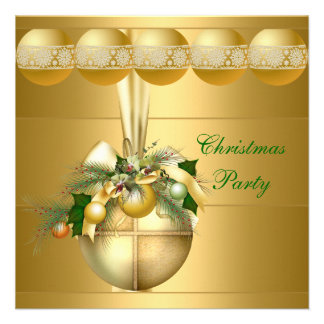 Invite Christmas Party Gold Balls Announcements