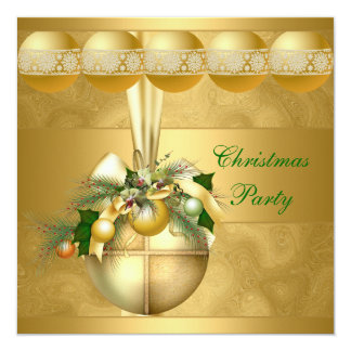 Invite Christmas Party Gold Balls Gold Swirls