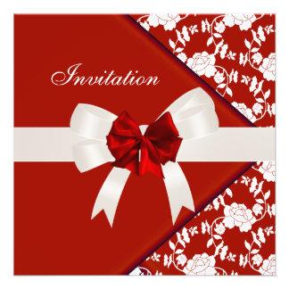Invite Elegant Classy Red White Floral Custom Announcements