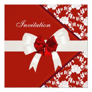 Invite Elegant Classy Red White Floral