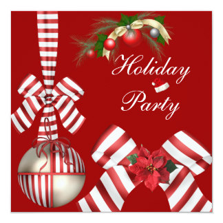 Invite Holiday Party Red White Candy Stripe Bow 4