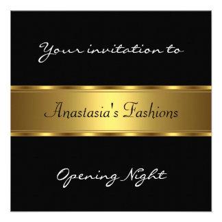 Invite Opening Night Black Gold Invites