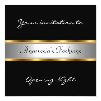 Invite Opening Night Black White Gold Personalized Announcement