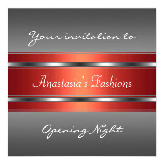 Invite Opening Night Grey Red Silver Personalized Invites