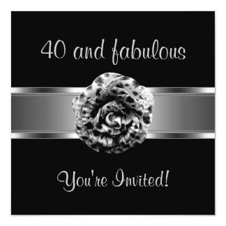 Invite Party Black Grey Flower Fabulous 40th