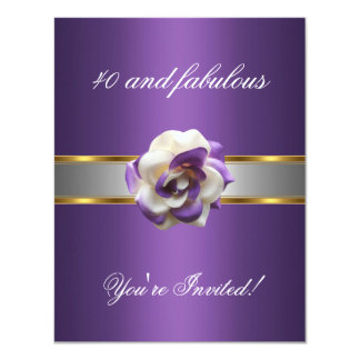 Invite Party Purple White Flower Fabulous 40th