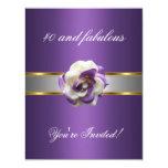 Invite Party Purple White Flower Fabulous 40th Custom Invites