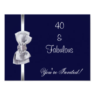 Invite Party Silver Bow Fabulous 40th Navy