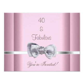 Invite Party Silver Bow Image Fabulous 40th Pink