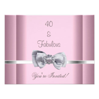 Invite Party Silver Bow Image Fabulous 40th Pink Custom Invitation