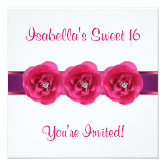 Invite Party White Pink Flower Sweet 16