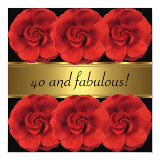 Invite Red Flowers Black Gold Fabulous 40th