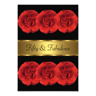 Invite Red Flowers Black Gold Fabulous 50th