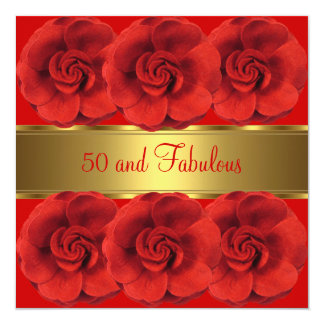 Invite Red Flowers Gold 50 and Fabulous