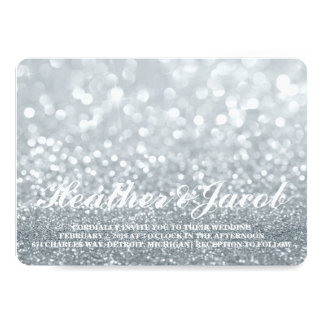 Invite - Silver Lit Glitter Fab Wedding