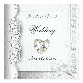 Invite Wedding Elegant White Lace Rings