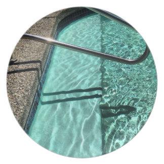 Inviting Swimming Pool Melamine Plate