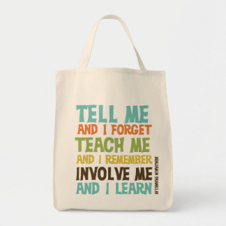 Involve Me Inspirational Quote Grocery Tote Bag