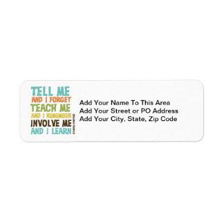 Involve Me Inspirational Quote Return Address Label
