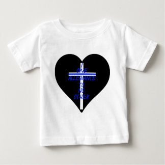 IOATNO Black Heart With Cross And Thin Blue Line Baby T-Shirt