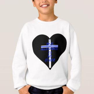 IOATNO Black Heart With Cross And Thin Blue Line Sweatshirt