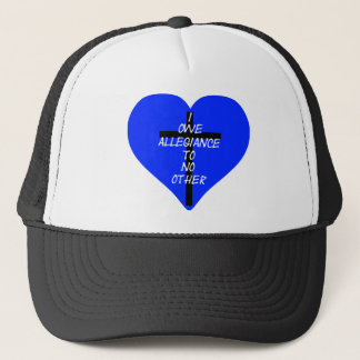 IOATNO Blue Heart And Cross Trucker Hat
