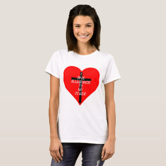 IOATNO Red Heart And Cross T-Shirt