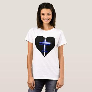 IOATNO Thin Blue Line Heart And Cross T-Shirt