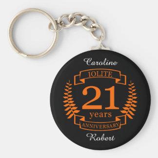 Iolite Gemstone wedding anniversary 21 years Key Ring