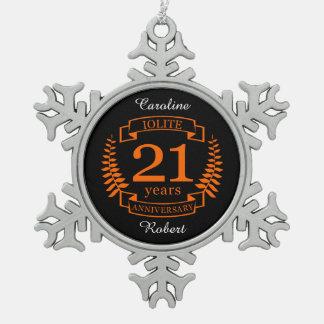 Iolite Gemstone wedding anniversary 21 years Snowflake Pewter Christmas Ornament