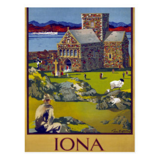 Iona Scotland Vintage Travel Poster Restored Postcard