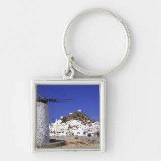 Ios, Greece. The beautful and crisp, white and Silver-Colored Square Key Ring