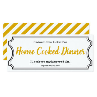 IOU Love Gift Ticket One Dinner editable yellow Card