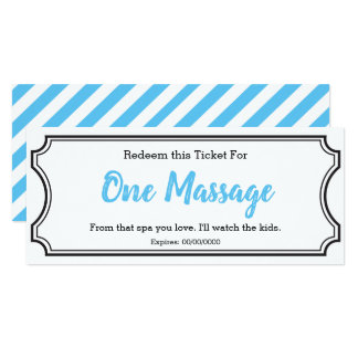 IOU Love Gift Ticket One Massage editable sky blue Card