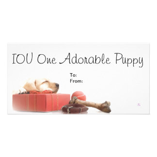 IOU One Adorable Puppy Customized Photo Card